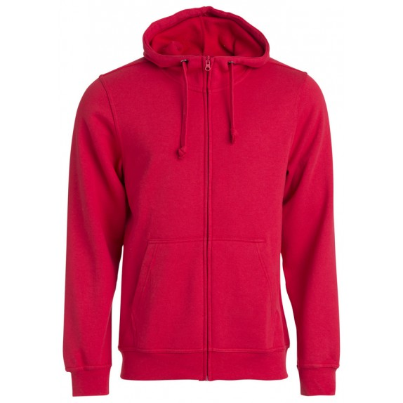 Clique Basic hoody full zip Rood