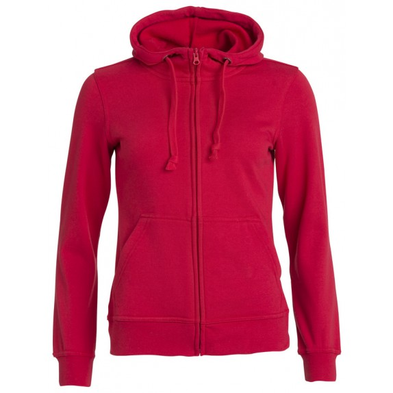 Clique Basic hoody full zip ds Rood