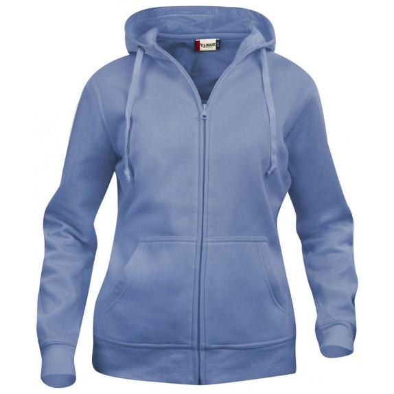 Clique Basic hoody full zip ds Lichtblauw
