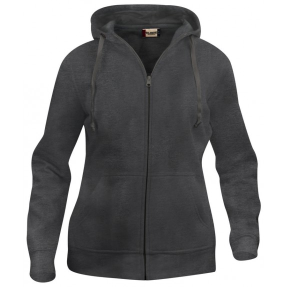 Clique Basic hoody full zip ds Antraciet Melange
