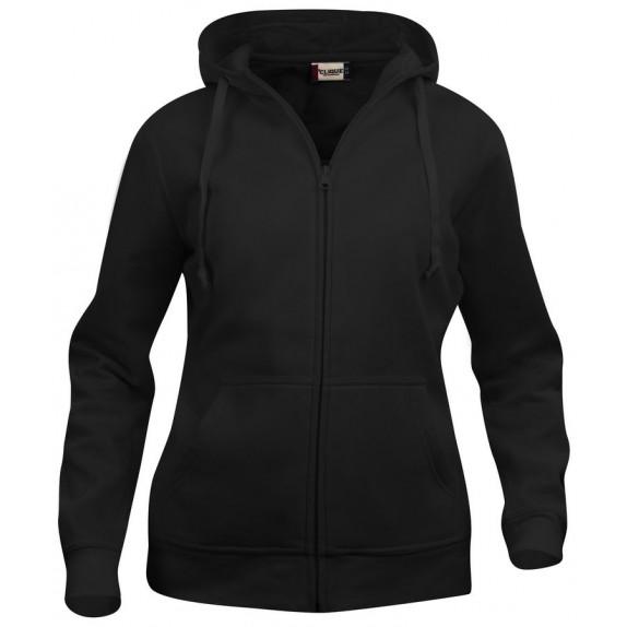 Clique Basic hoody full zip ds Zwart