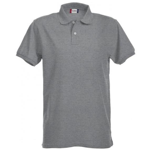 Clique Premium Heren Polo Grijs Melange