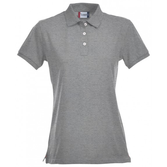 Clique Premium Dames Polo Grijs Melange