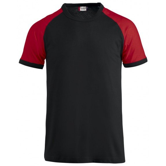 Clique Raglan-T Zwart/Rood