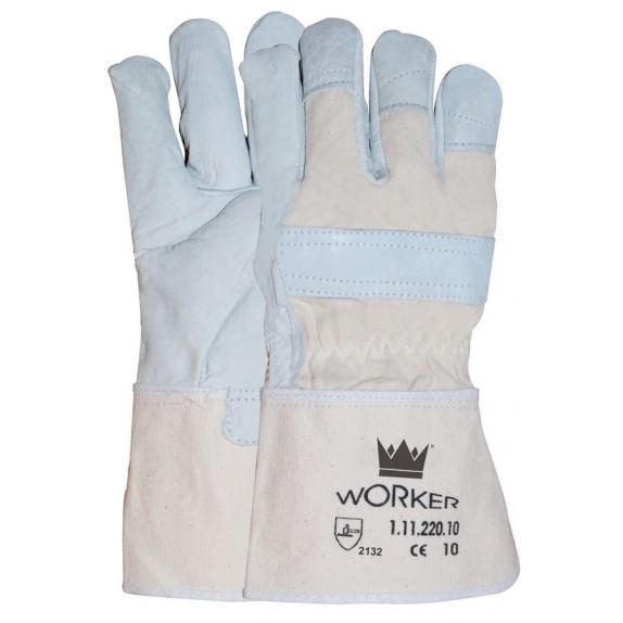 Nerflederen handschoen met 10 cm canvas ácru kap maat 10