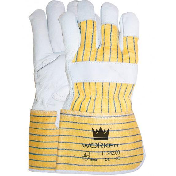 Nerflederen handschoen met gerubberiseerde gele kap en palmversterking maat 10