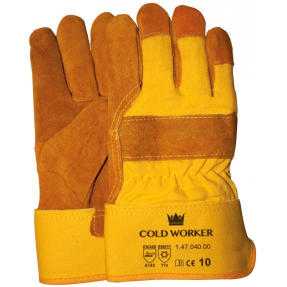 Splitlederen winterhandschoen met gele kap maat 10