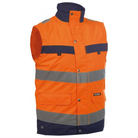 Dassy Bilbao Hoge zichtbaarheidsbodywarmer Oranje/Marineblauw