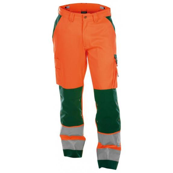 Dassy Buffalo Hoge zichtbaarheidswerkbroek met kniezakken Oranje/Groen