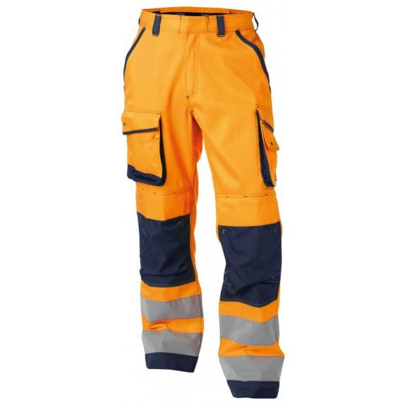Dassy Chicago Hoge zichtbaarheidswerkbroek met kniezakken Oranje/Marineblauw