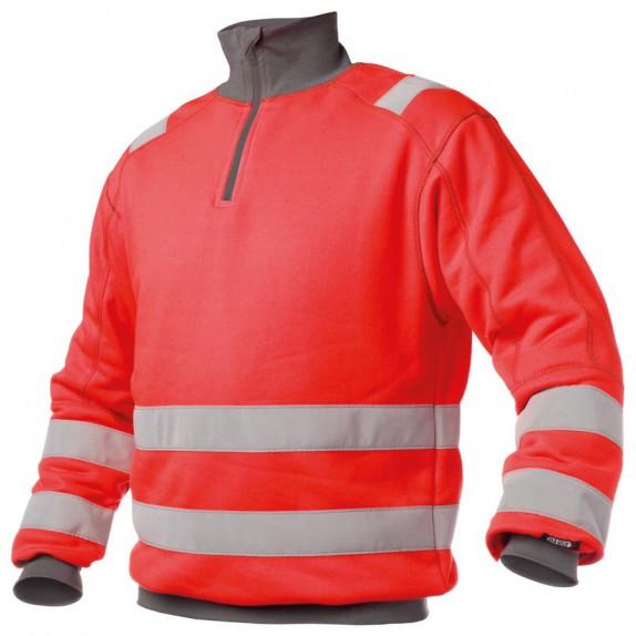 Dassy Denver Hoge zichtbaarheidssweater Rood/Grijs
