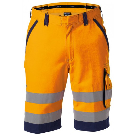 Dassy Lucca Hoge zichtbaarheidswerkshort Oranje/Marineblauw