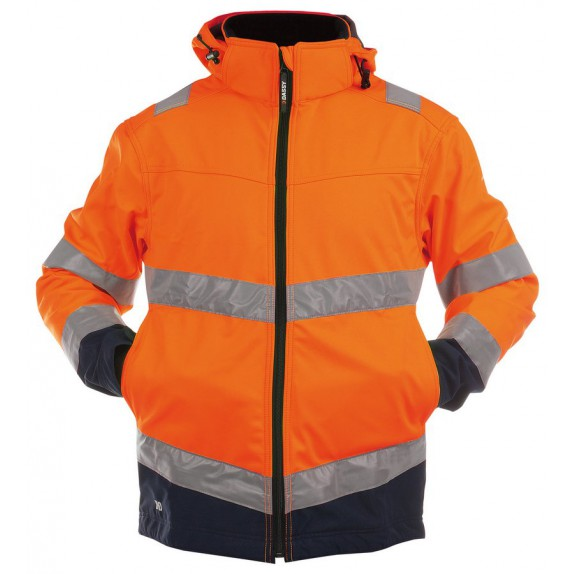 Dassy Malaga Hoge zichtbaarheidssoftshell vest Oranje/Marineblauw