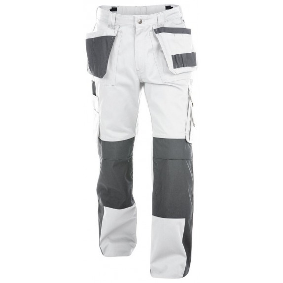 Dassy Seattle multizakkenbroek met kniezakken Wit/Grijs 245gr