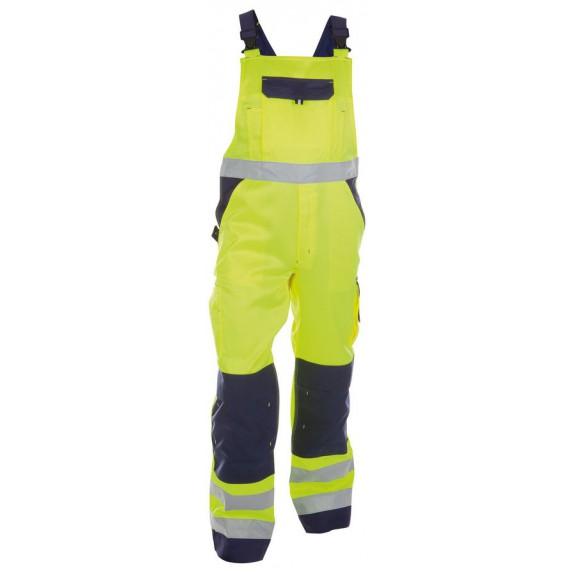 Dassy Toulouse Hoge zichtbaarheidsbretelbroek met kniezakken Geel/Marineblauw