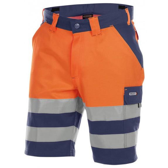 Dassy Venna Hoge zichtbaarheidswerkshort Marineblauw/Oranje