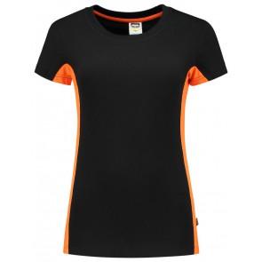 Tricorp 102003 T-Shirt Bicolor Dames Zwart/Oranje