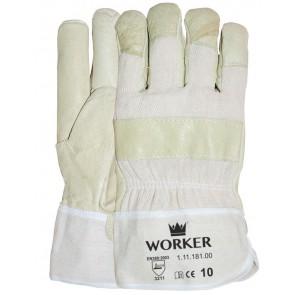 Varkensnerflederen handschoen met gestreept doek