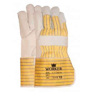 Nerflederen handschoen met gerubberiseerde gele kap en pistoolversterking maat 10