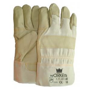 Meubellederen handschoen met lichte kleuren maat 10