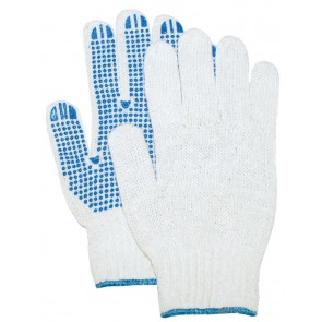 Rondgebreide polyester/katoen handschoen met PVC nop dikke kwaliteit maat 10