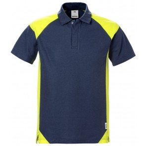 Fristads Poloshirt 7047 PHV Marineblauw/hi-vis geel