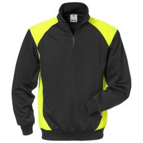 Fristads Sweater met korte rits 7048 SHV Zwart/hi-vis geel