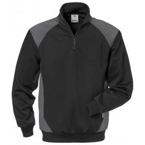 Fristads Sweater met korte rits 7048 SHV Zwart/grijs