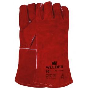 Lashandschoen van rood splitleder met Kevlar garen gestikt maat 10