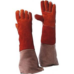 Lashandschoen van rood splitleder met lange kap 55 cm maat 10