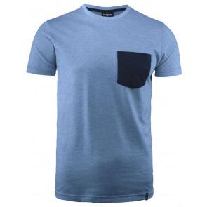 Harvest Portwillow Tee T-Shirt Unisex Lichtblauw Melée