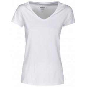 Harvest Whailford Organic Slub Vneck T-Shirt Dames Wit