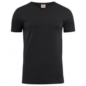 Printer Heavy V-Hals T-Shirt Heren Zwart