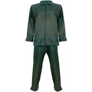 Regenpak polyester/PVC 2-delig groen