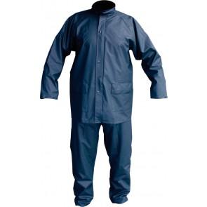 PU stretch regenpak 2-delig marineblauw