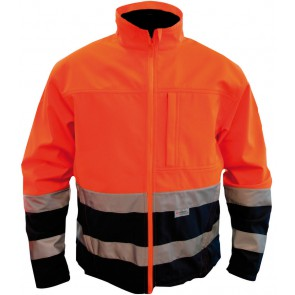 M-Wear 1300 softshell jas fluo oranje/marineblauw