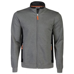 Macone Blake Full Zip Sweater Unisex Grijs Melée/Zwart