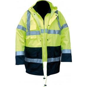 M-Wear 4-in-1 parka 0980 fluo geel/marineblauw