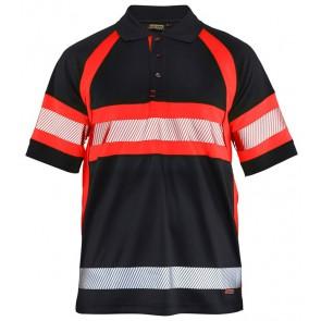 Blåkläder 3338-1051 Poloshirt High Vis Klasse 1 Zwart/Fluor Rood