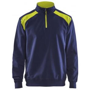 Blåkläder 3353-1158 Sweatshirt Bi-Colour met halve rits Marineblauw/Geel