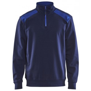 Blåkläder 3353-1158 Sweater halve rits Marineblauw/Korenblauw