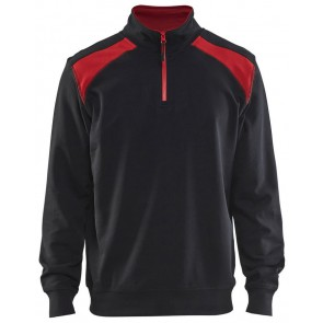 Blåkläder 3353-1158 Sweater halve rits Zwart/Rood