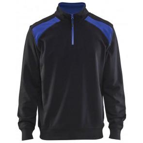 Blåkläder 3353-1158 Sweater halve rits Zwart/Korenlblauw