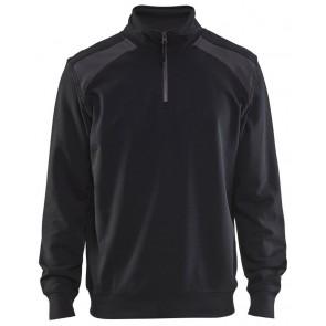 Blåkläder 3353-1158 Sweatshirt Bi-Colour met halve rits Zwart/Grijs