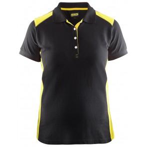 Blåkläder 3390-1050 Dames Poloshirt Piqué Zwart/Geel