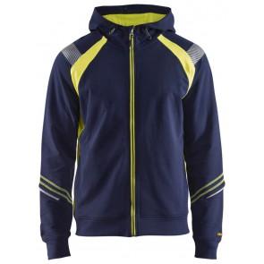 Blåkläder 3433-1158 Hooded sweatshirt hele rits Visible Marineblauw/Geel