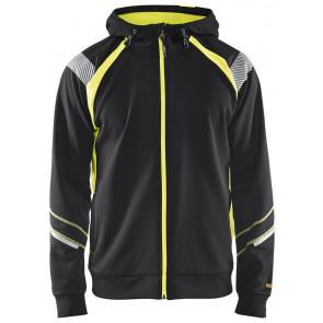 Blåkläder 3433-1158 Hooded sweatshirt hele rits Visible Zwart/Geel