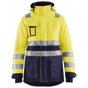 Blåkläder 4472-1987 Dames High Vis winter parka Geel/Marineblauw