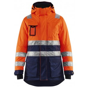 Blåkläder 4472-1987 Dames High Vis winter parka Oranje/Marineblauw