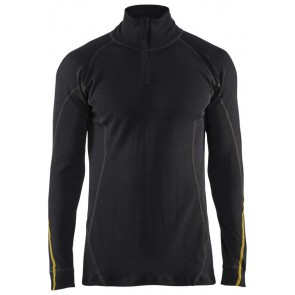 Blåkläder 4796-1075 Vlamvertragend Onderhemd Zip-Neck Zwart